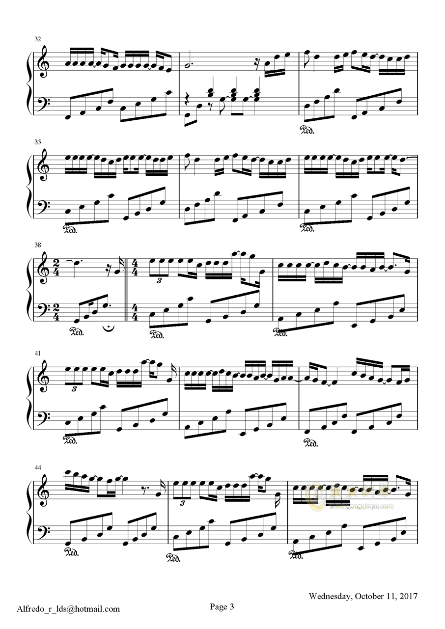 �]有你的十一月钢琴谱 第3页