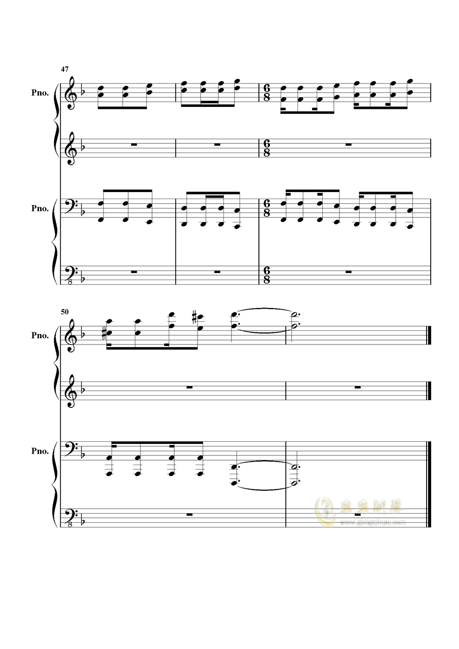 加勒比海盗钢琴谱 第12页
