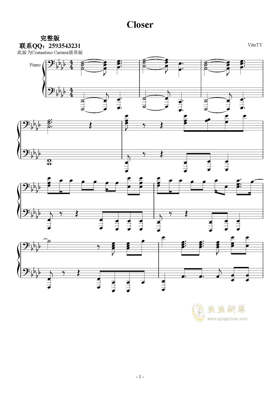 Closer 钢琴谱 第1页