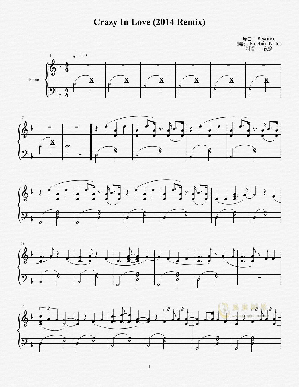 Crazy In Love钢琴谱 第1页