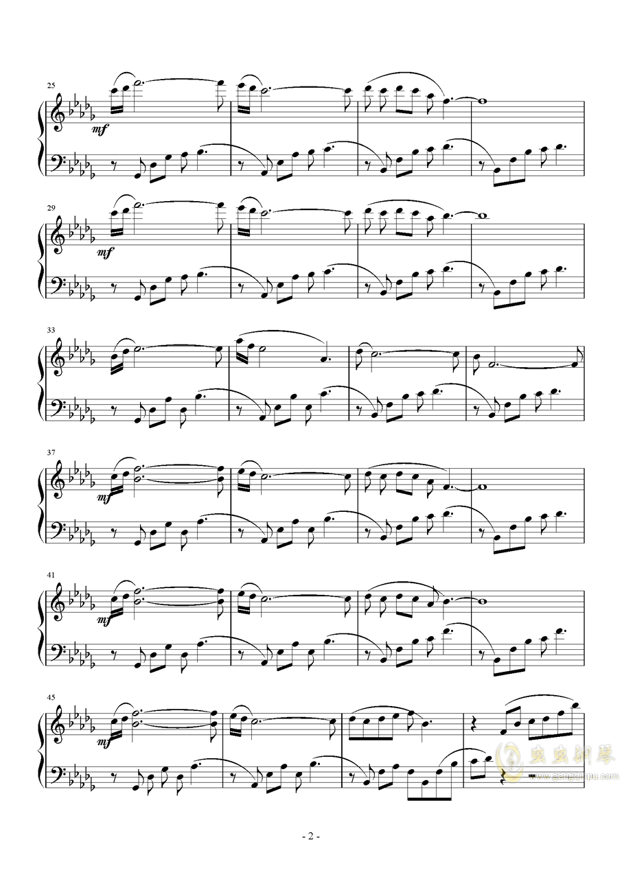 Lonely autumn钢琴谱 第2页