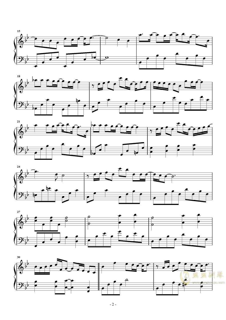 一半一半钢琴谱 第2页