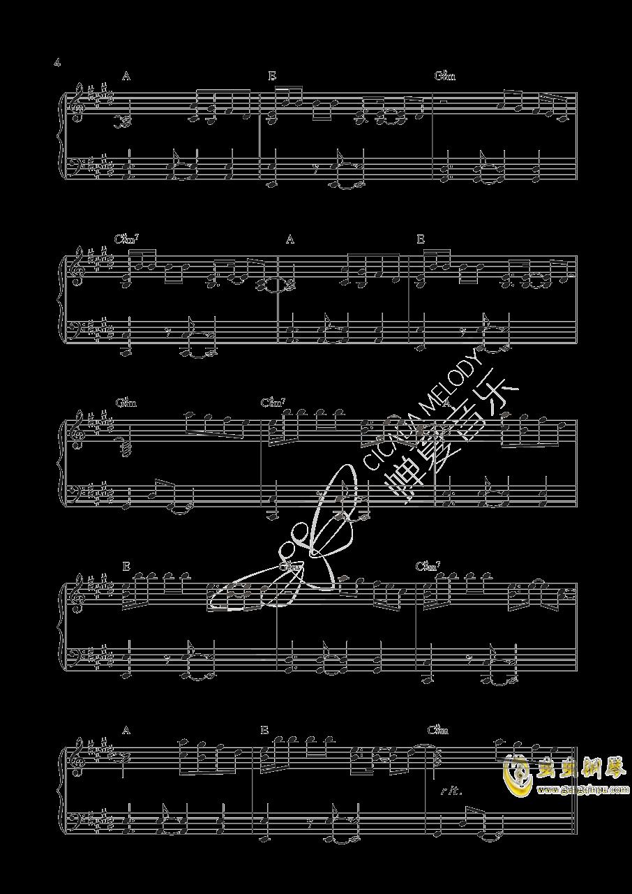 光年之外钢琴谱 第4页图片