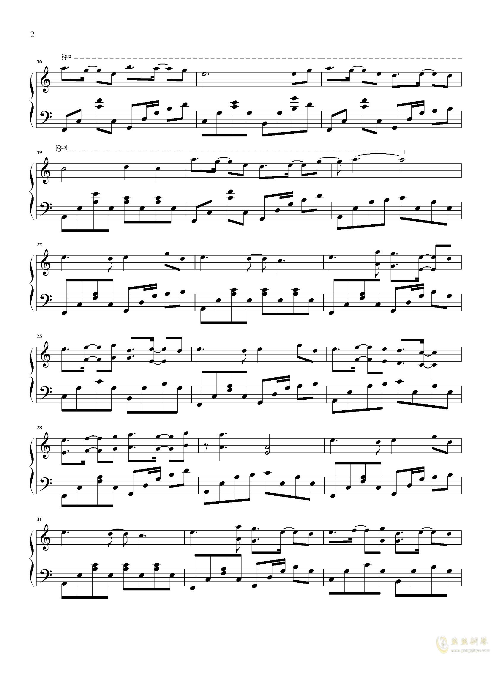 爱情似花钢琴谱 第2页