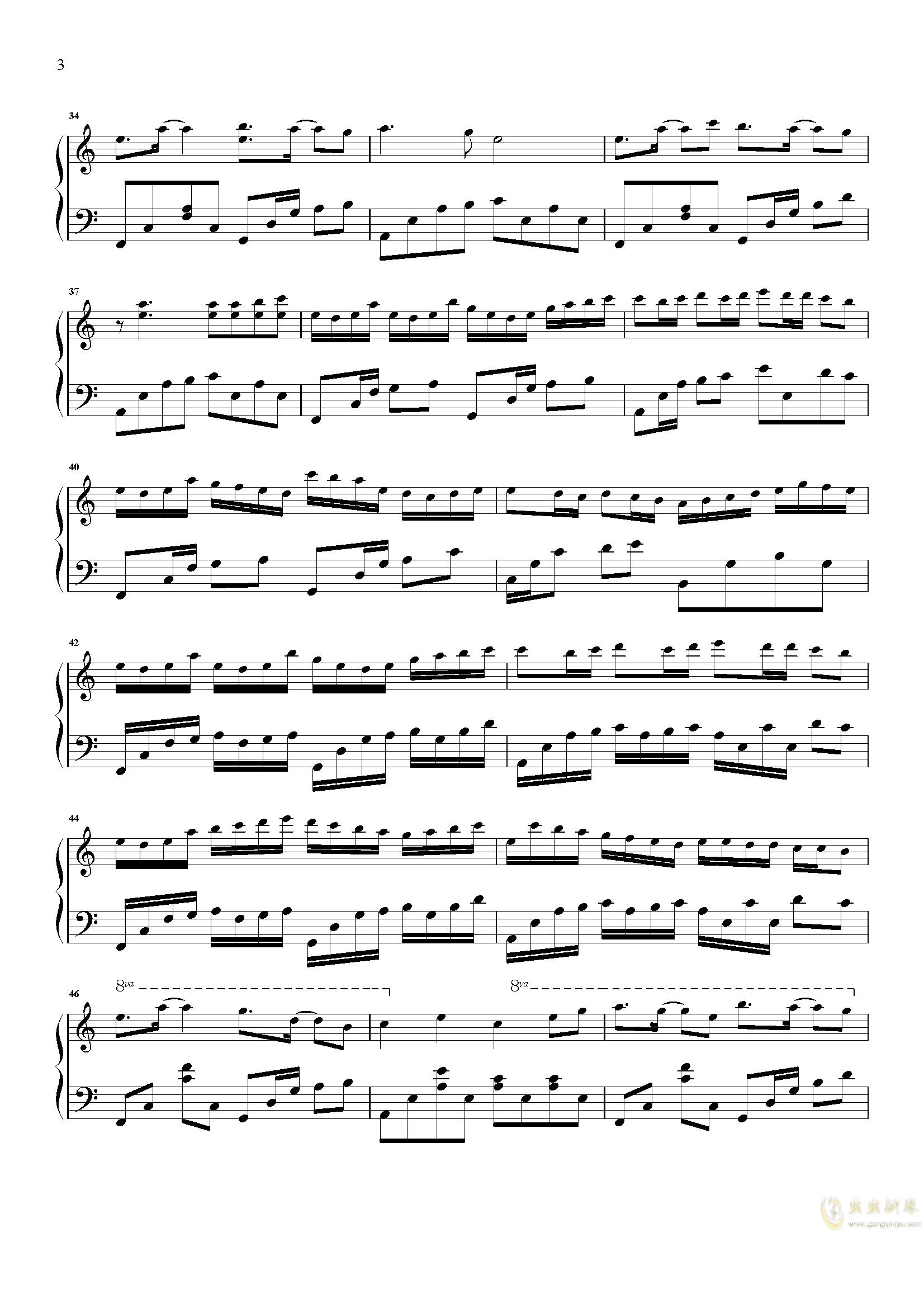 爱情似花钢琴谱 第3页
