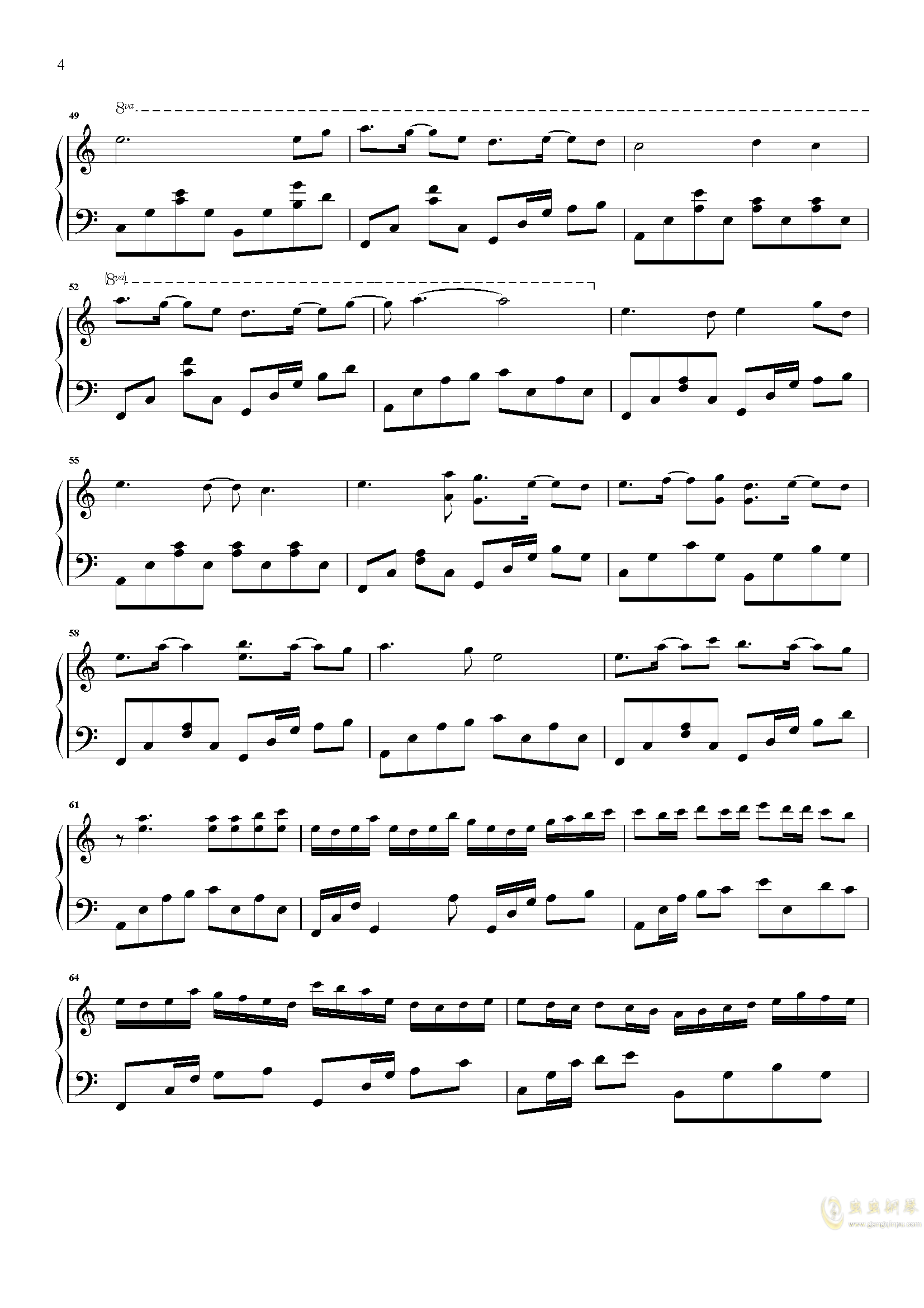 爱情似花钢琴谱 第4页