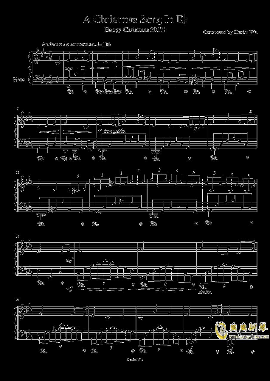降E大调圣诞歌钢琴谱 第1页