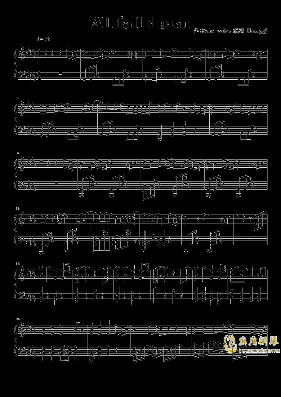 all falls down 钢琴谱 第1页