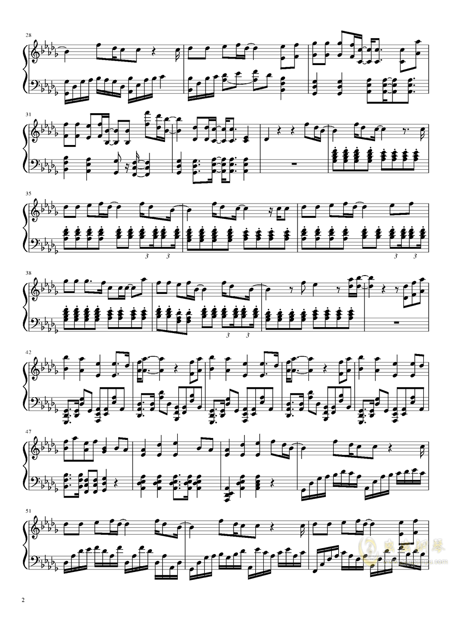 all falls down 钢琴谱 第2页