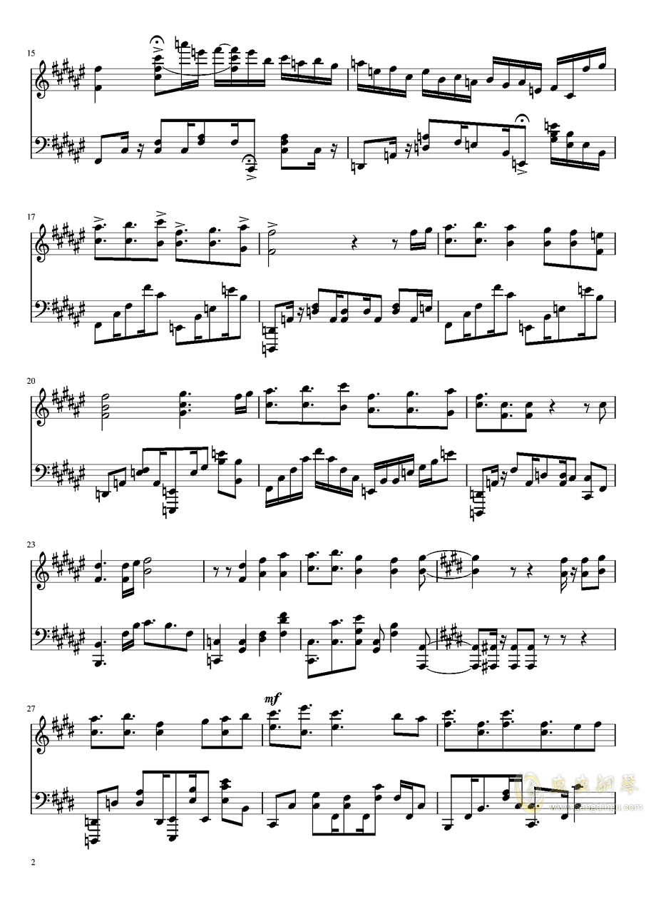 来自深渊钢琴谱 第2页