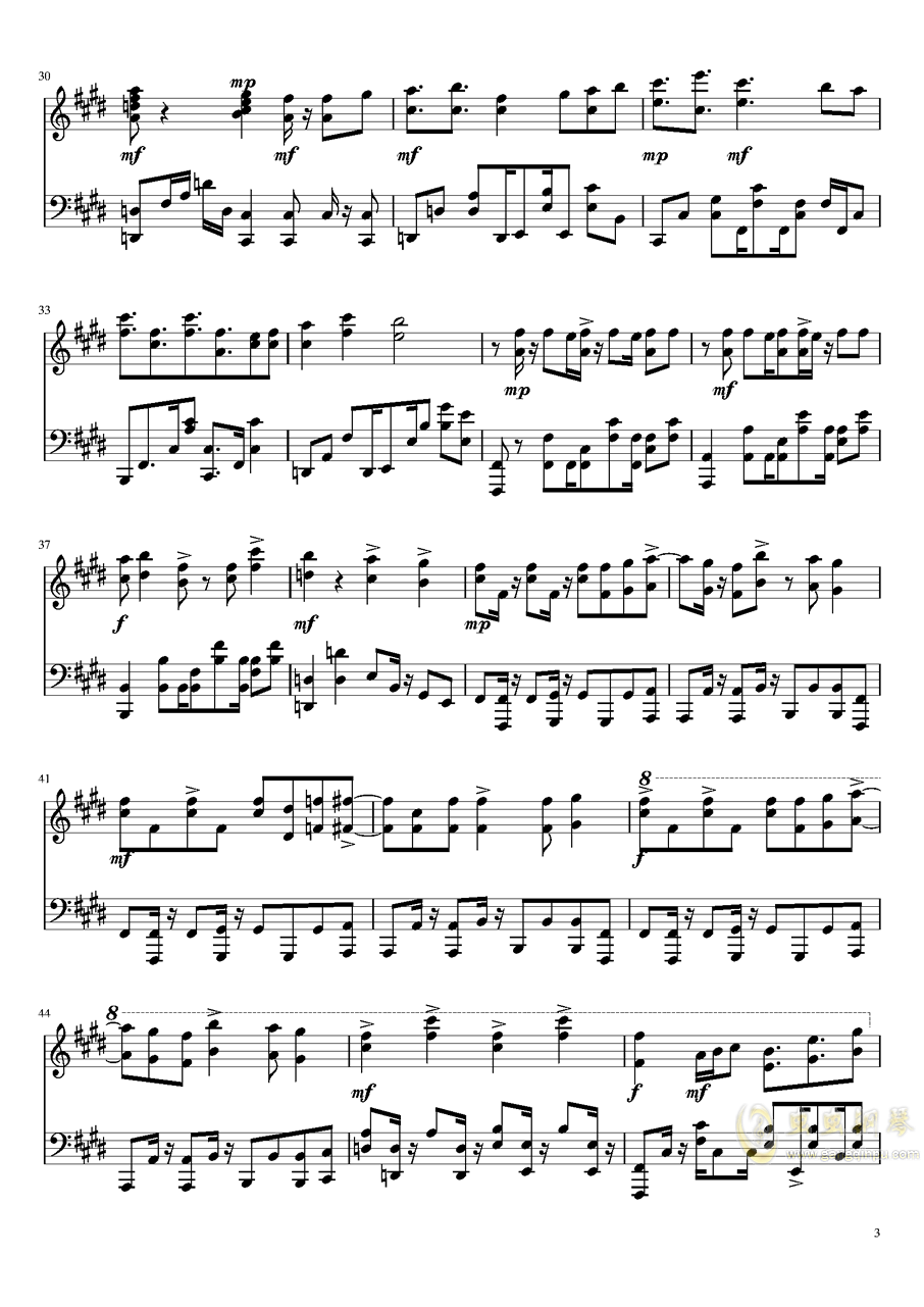 来自深渊钢琴谱 第3页