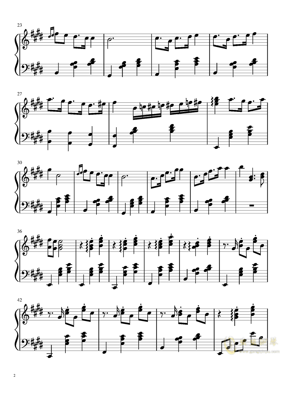 浪漫的脚步钢琴谱 第2页