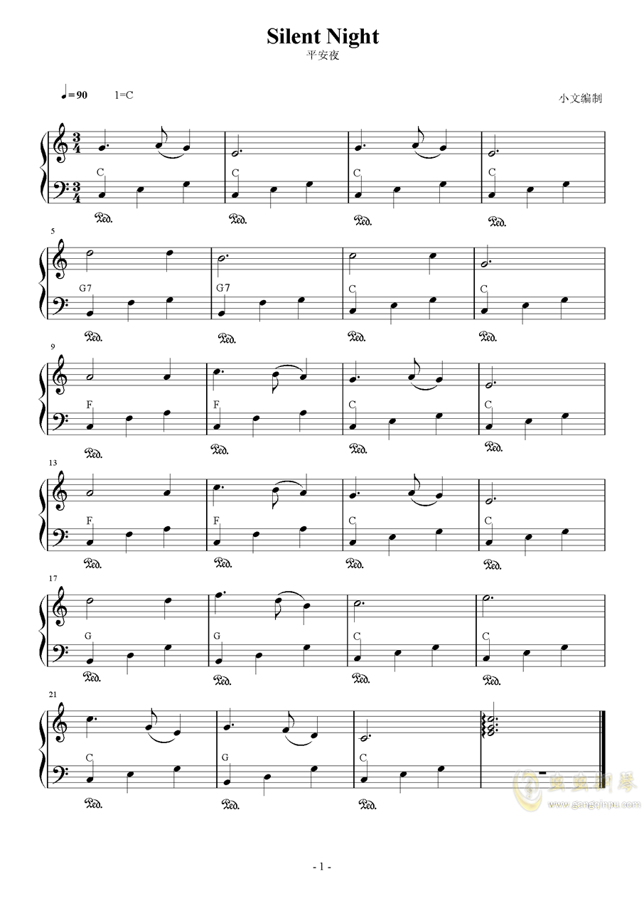 Silent Night钢琴谱 第1页