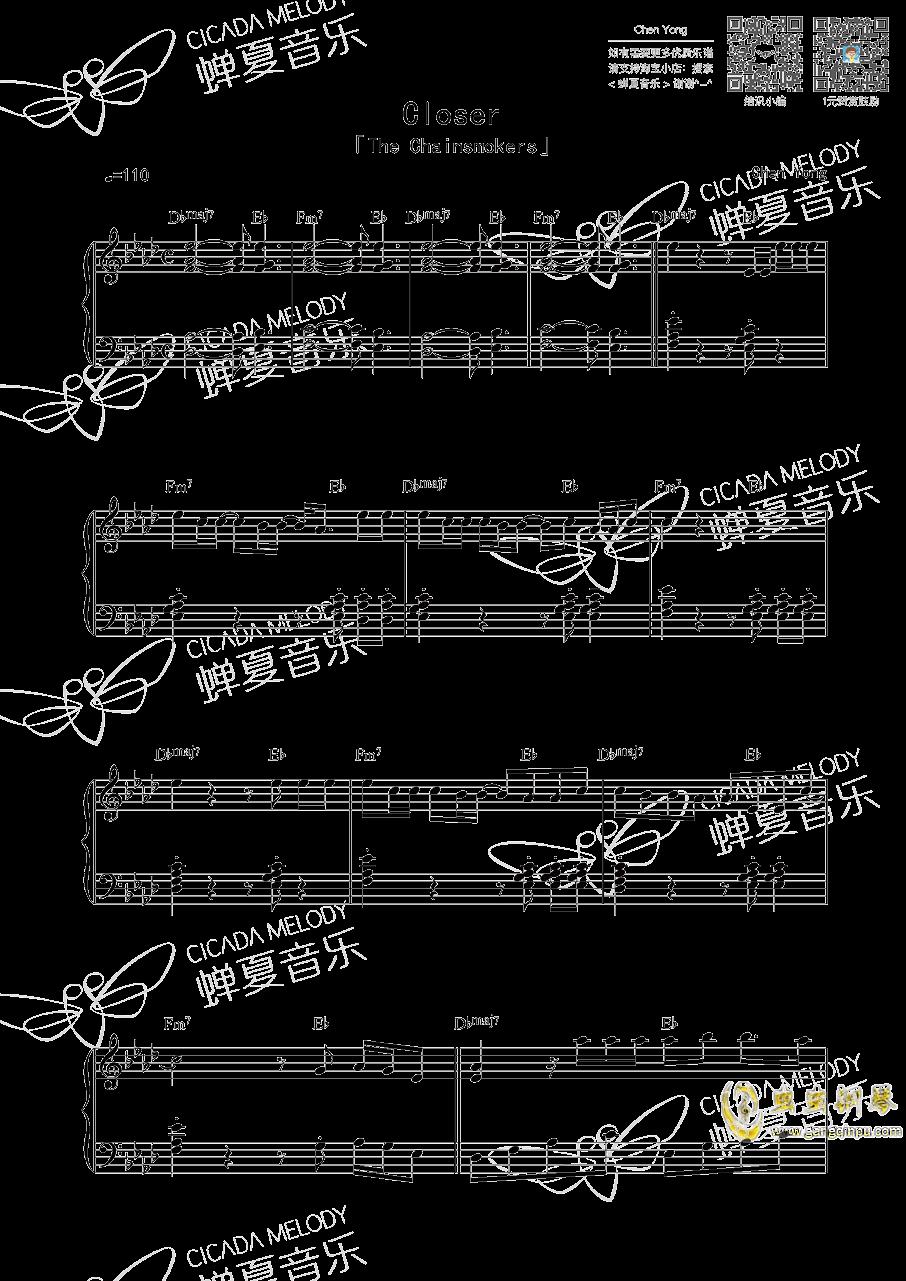Closer钢琴谱 第1页