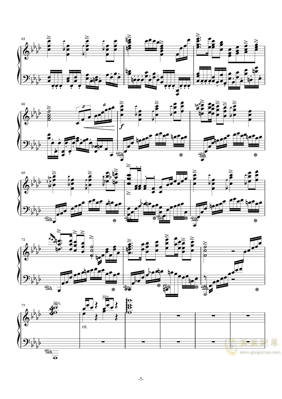 F大调叙事曲品月钢琴谱 第5页