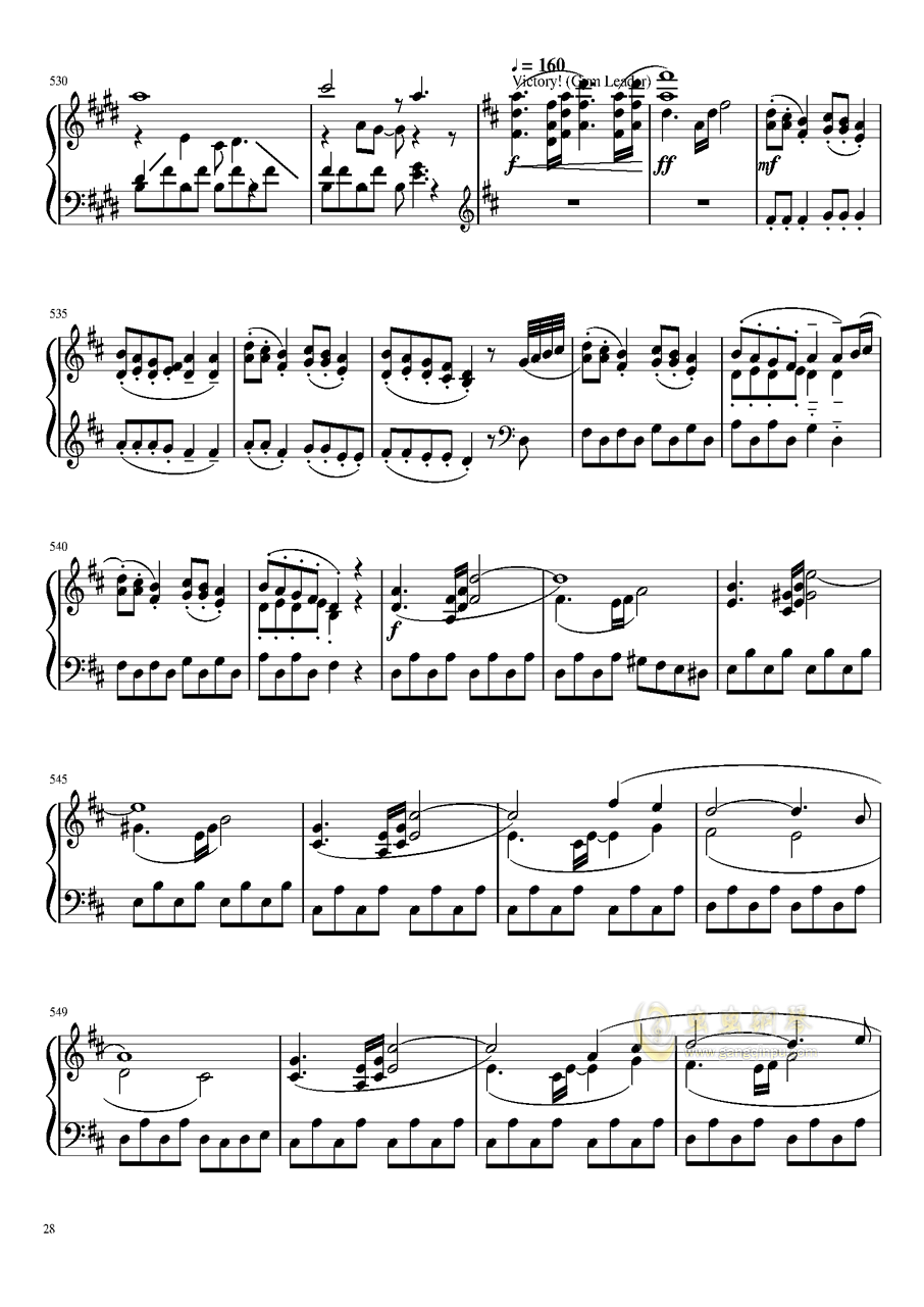 口袋妖怪初代全BGM串烧钢琴谱 第28页