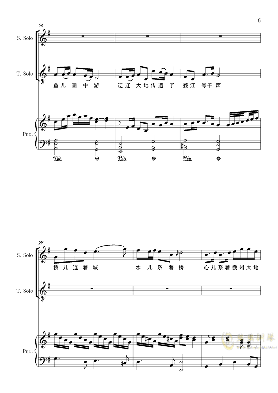 婺水情钢琴谱 第5页
