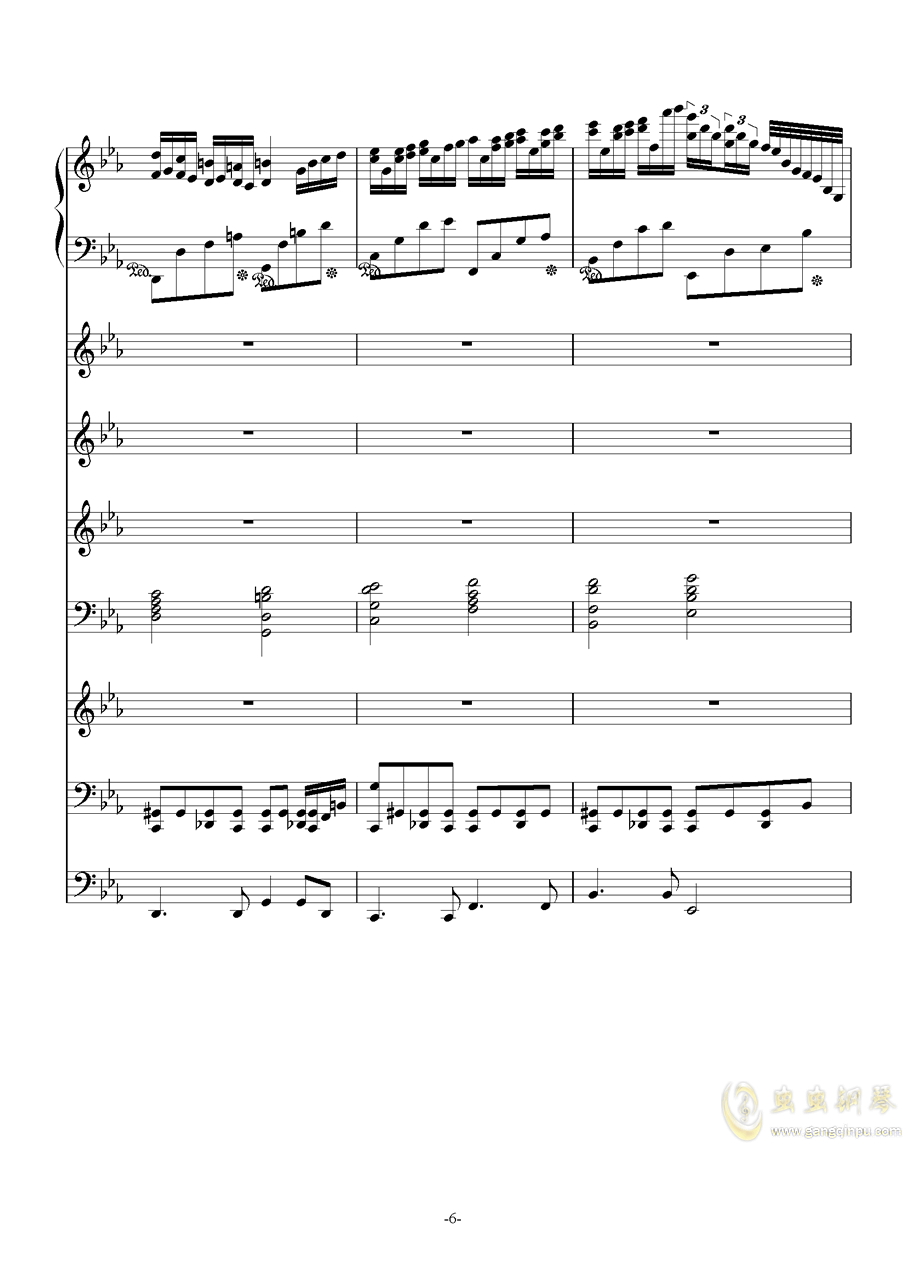 克罗地亚第六号狂想曲钢琴谱 第6页