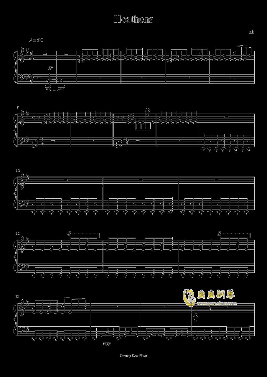 heathens,heathens钢琴谱,heathens钢琴谱网,heathens