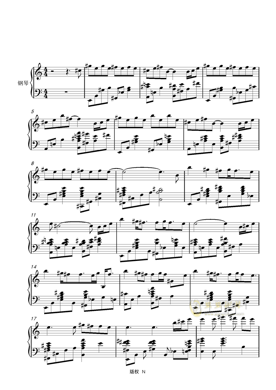 下坠钢琴简谱