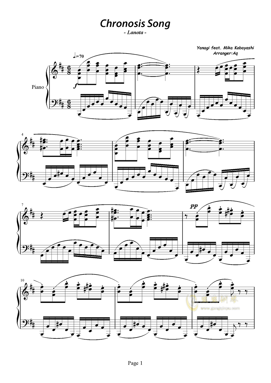 Chronosis Song钢琴谱 第1页