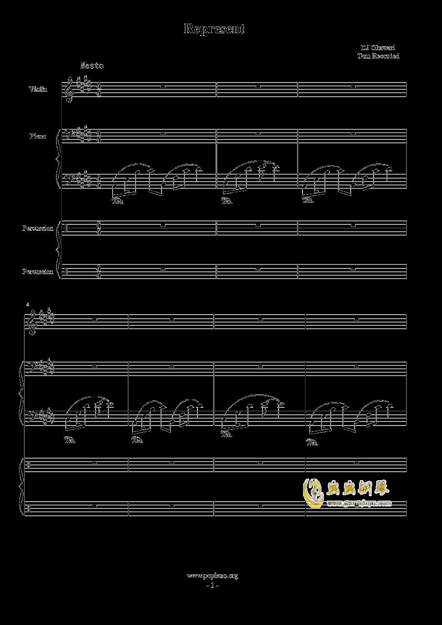 Represent - Dj Okawari钢琴谱 第1页