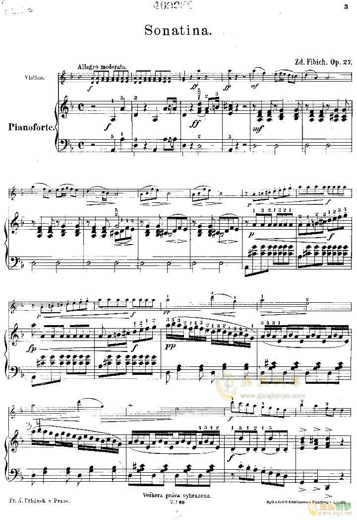 小提琴小奏鸣曲钢琴谱 第1页