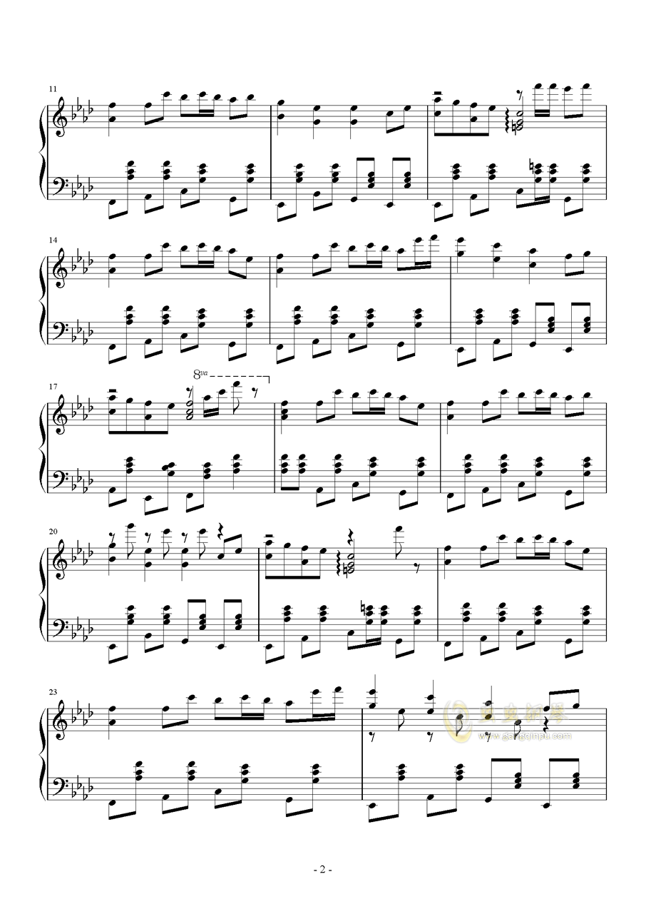 忍者棒棒钢琴谱 第2页