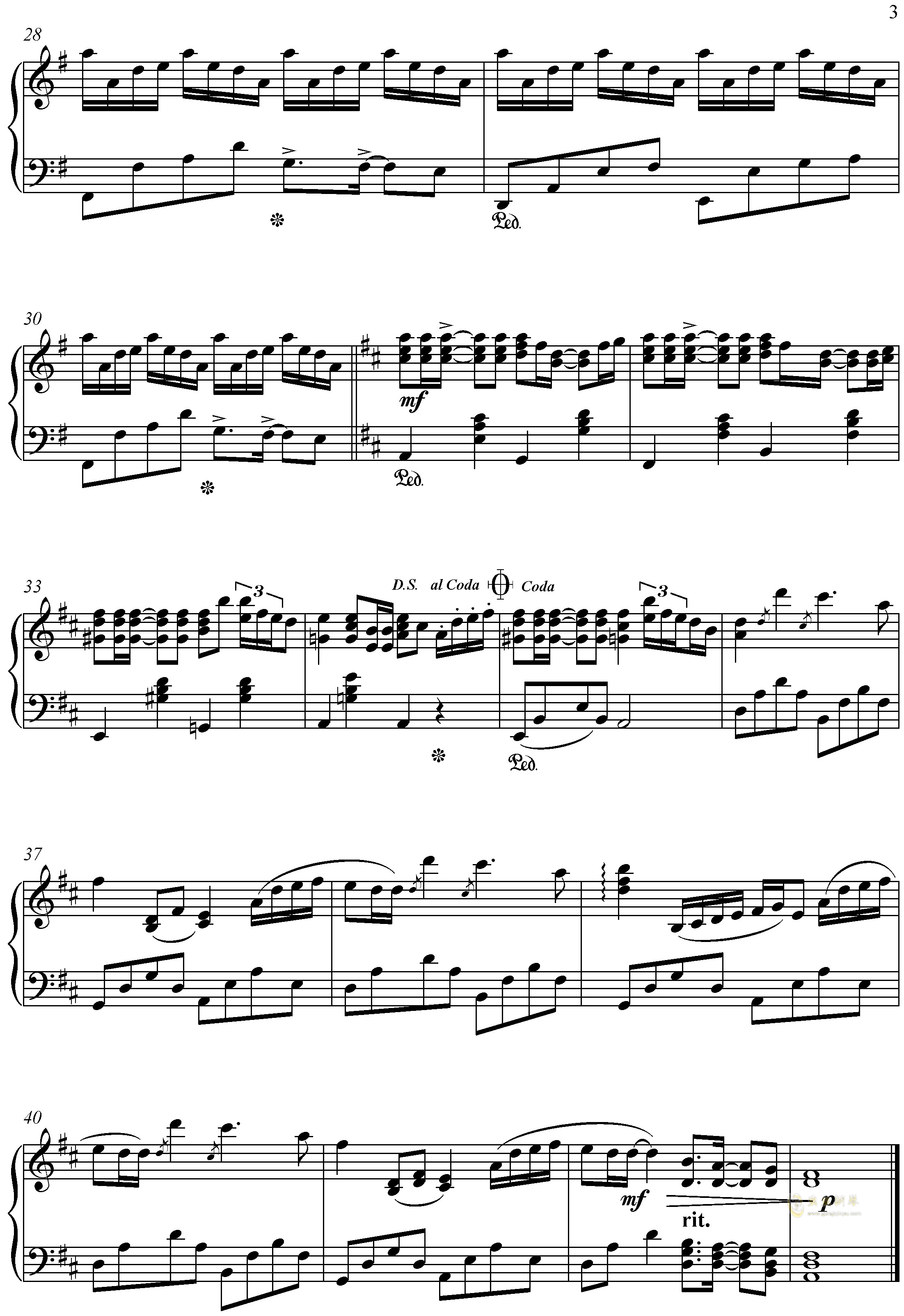 Summer钢琴谱 第3页