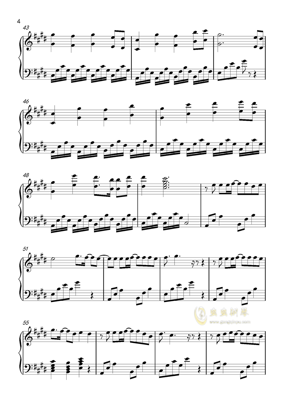 奇迹暖暖同人歌钢琴谱 第4页