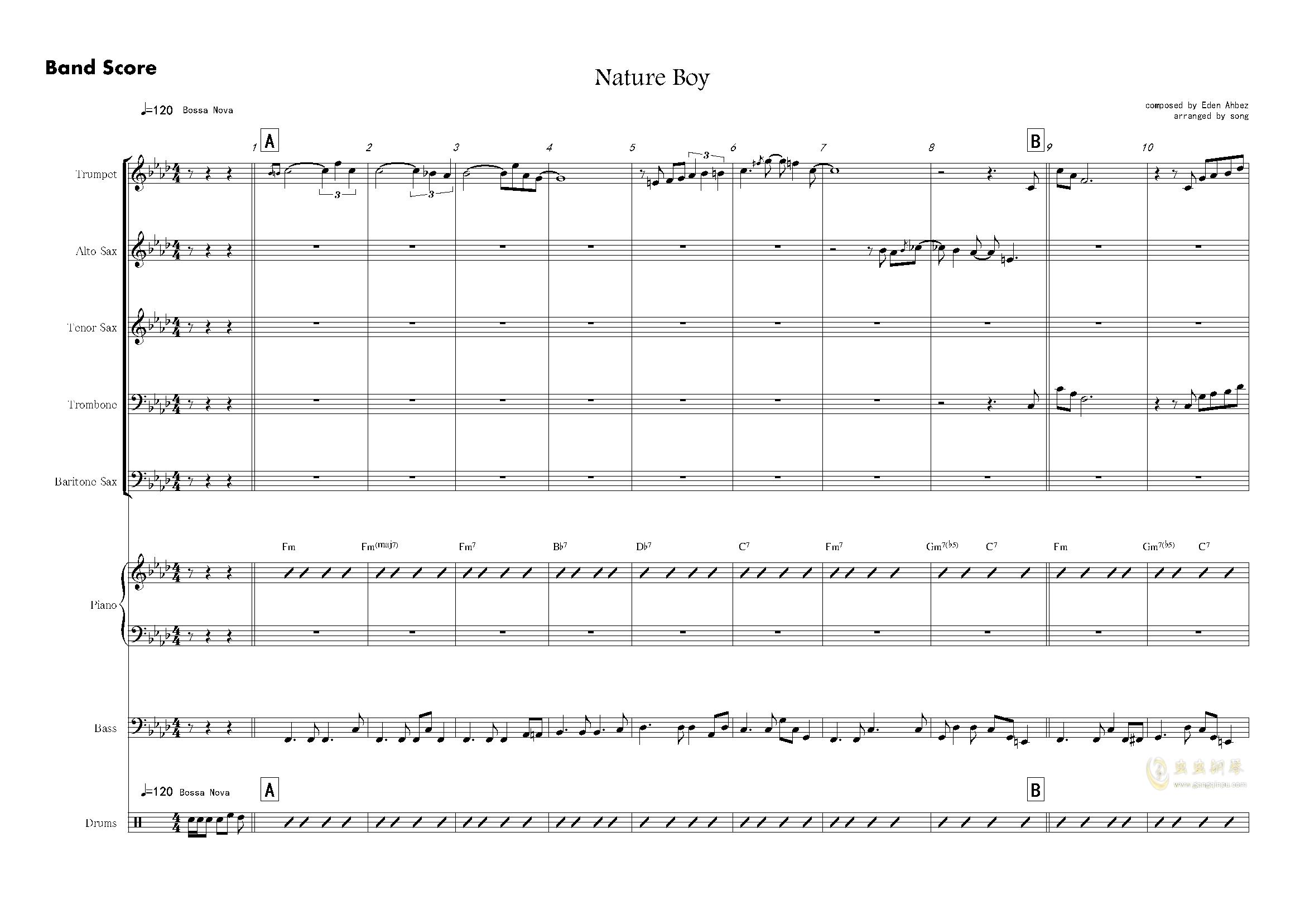 nature boy钢琴谱 第1页