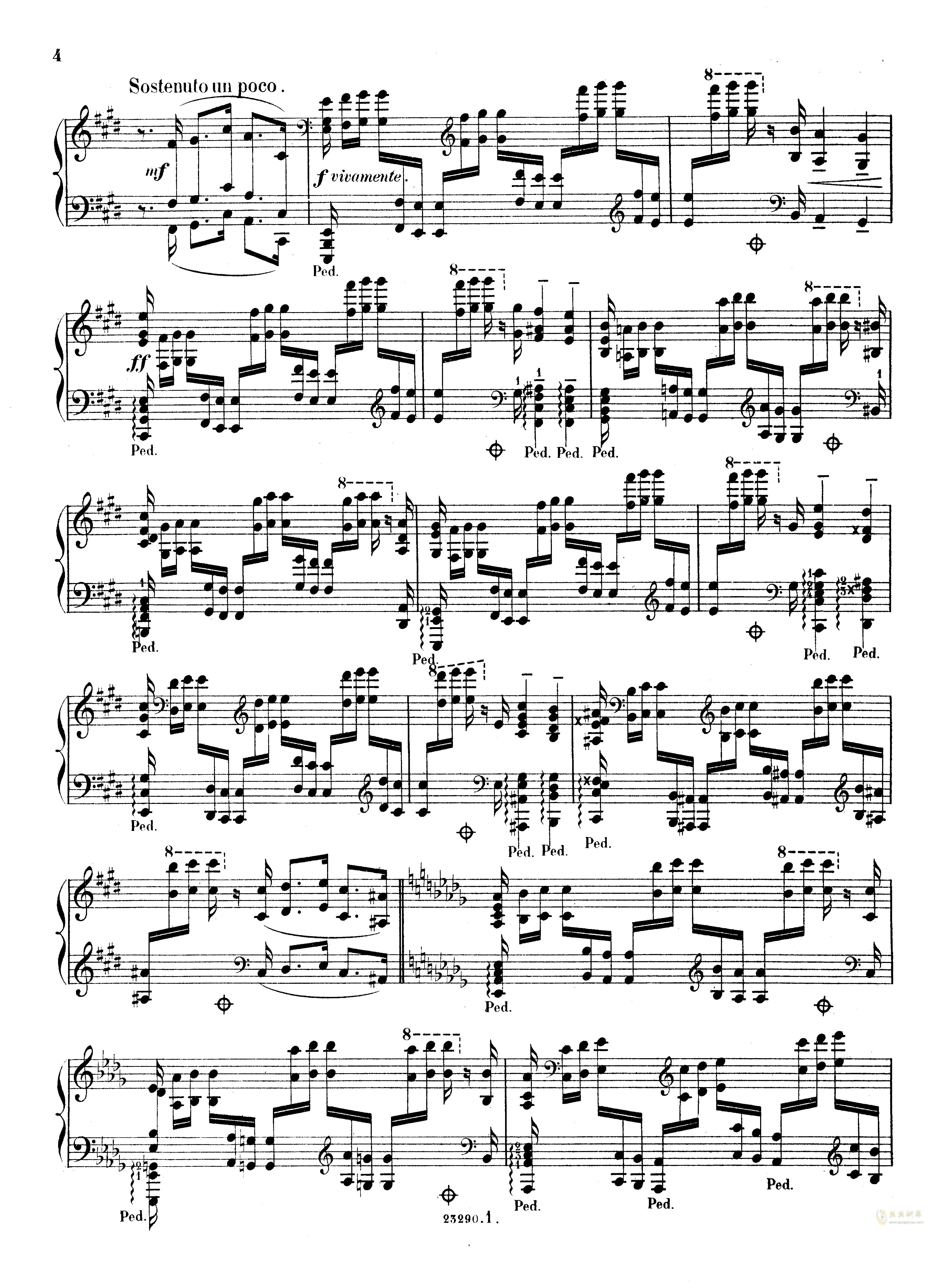 降D大调音乐会练习曲钢琴谱 第4页