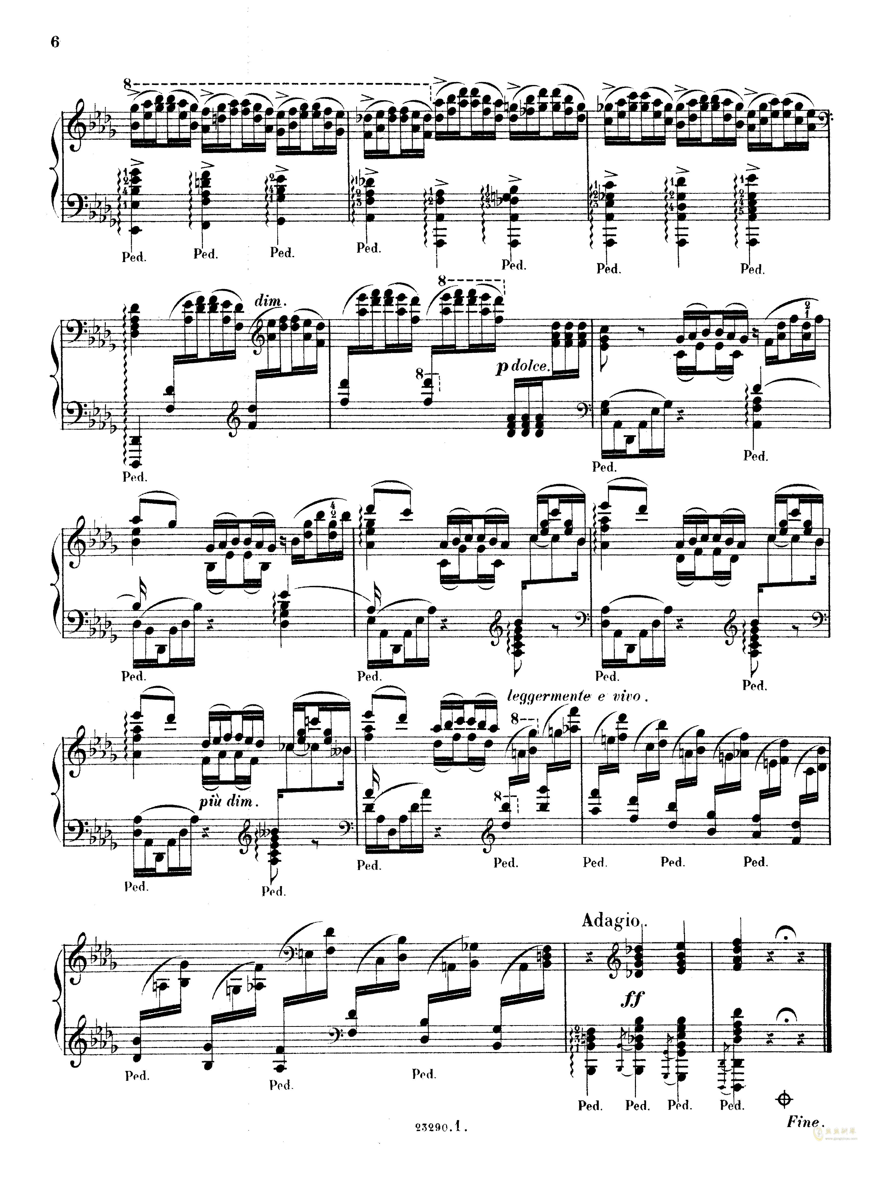 降D大调音乐会练习曲钢琴谱 第6页