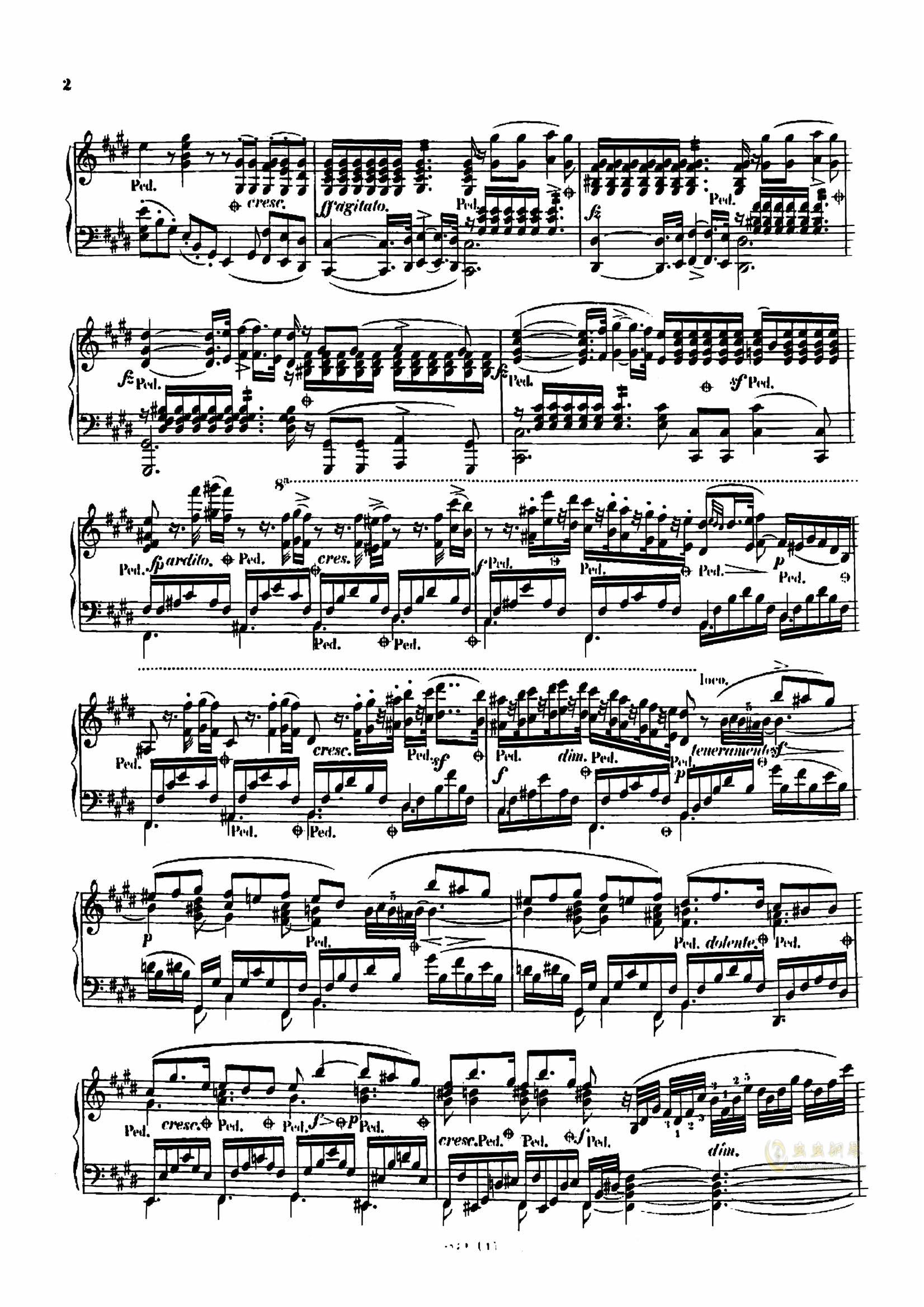 降D大调音乐会练习曲钢琴谱 第3页