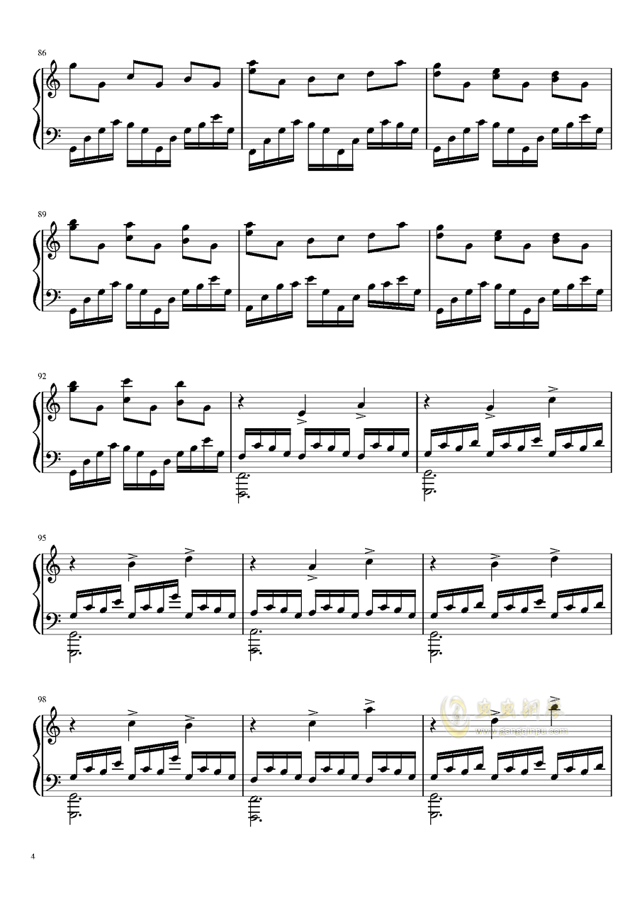 冥钢琴谱 第4页