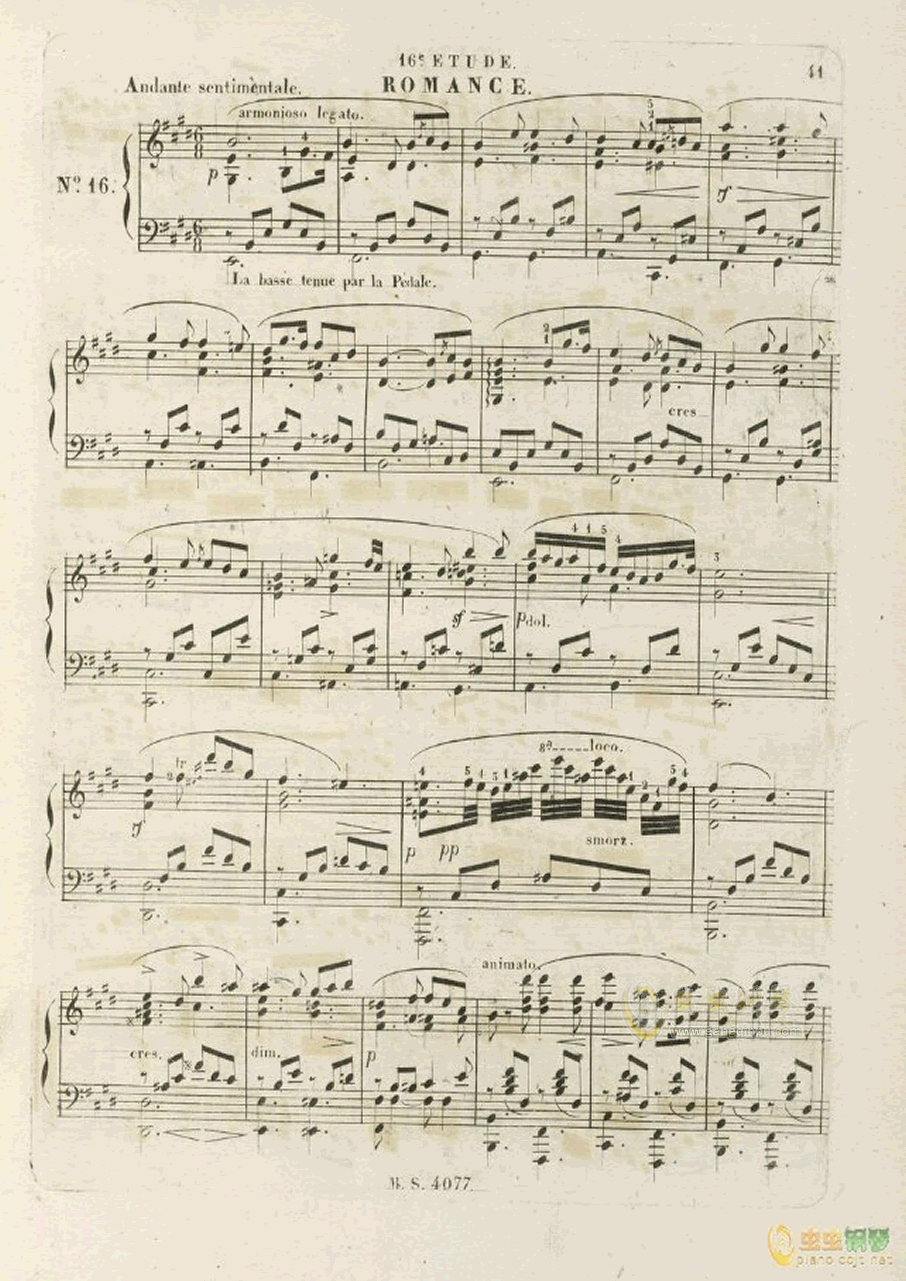 E大调浪漫曲钢琴谱 第1页