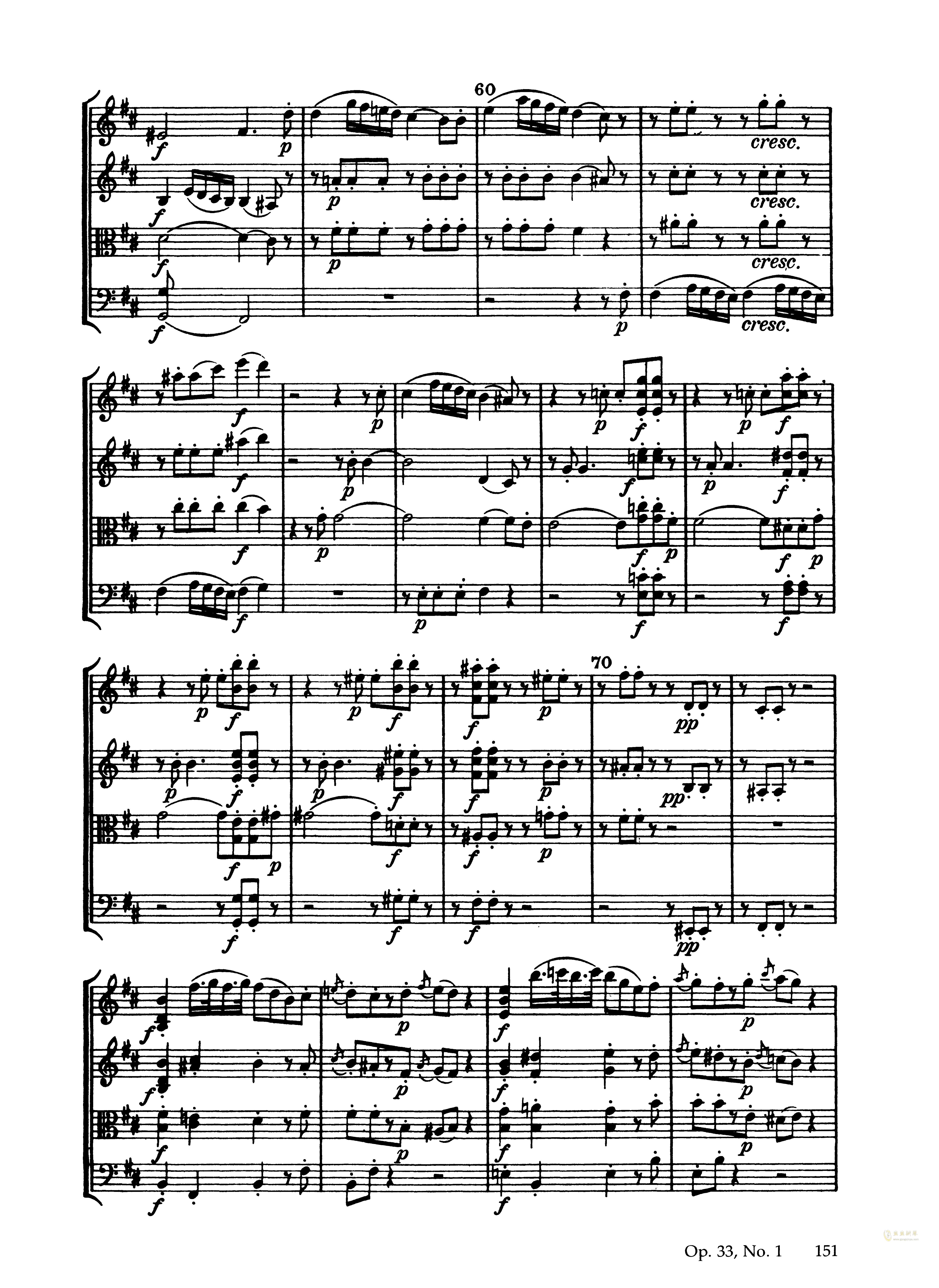 顿 b小调弦乐四重奏 Op.33 No.1,海顿 b小调弦乐四重奏 Op.33 No.