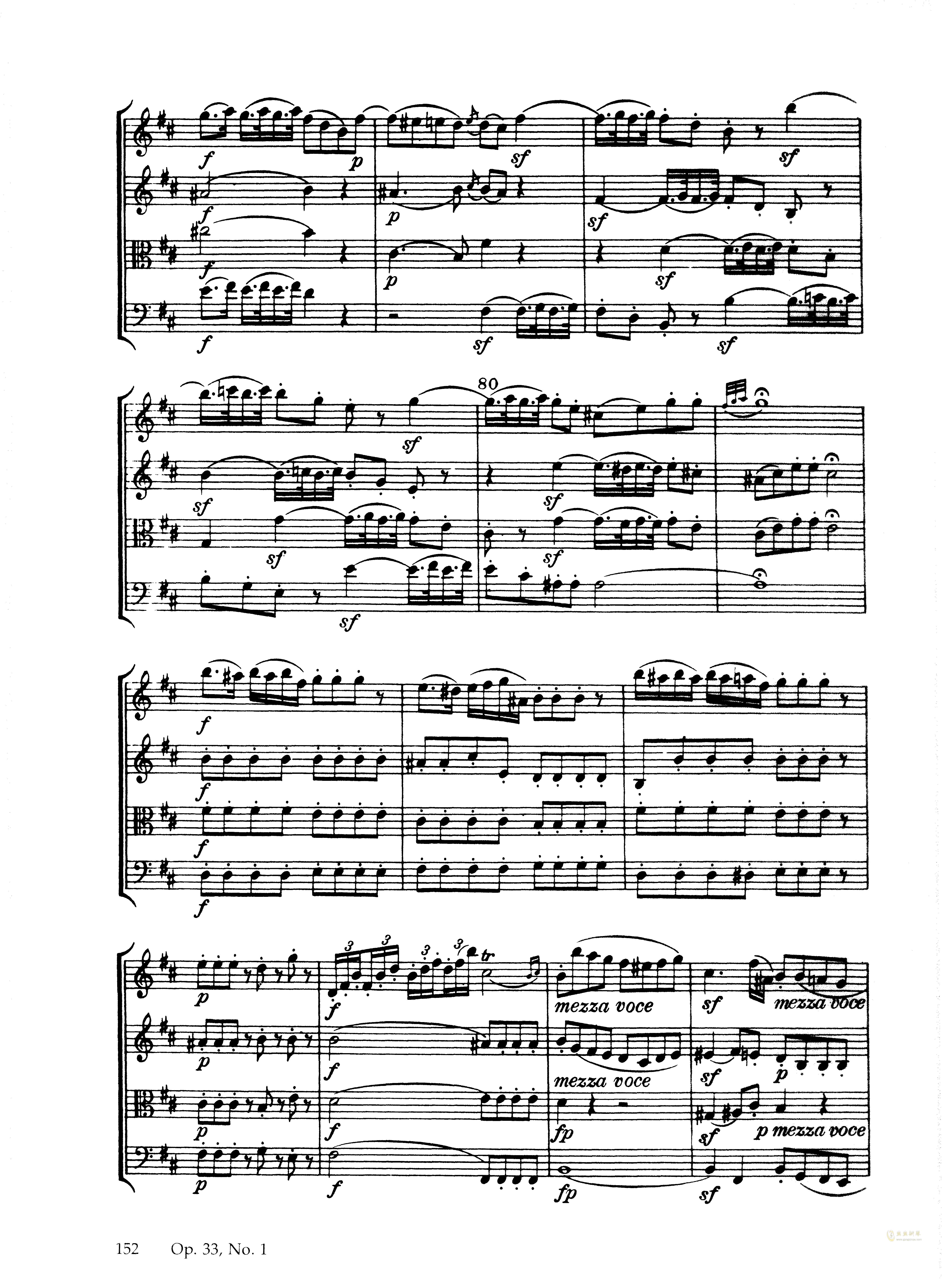 b小调弦乐四重奏 Op.33 No.1,海顿 b小调弦乐四重奏 Op.33 No.1