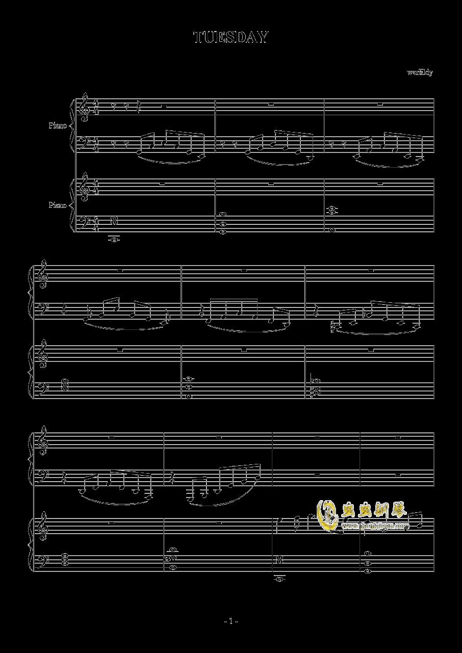 TUESDAY钢琴谱 第1页