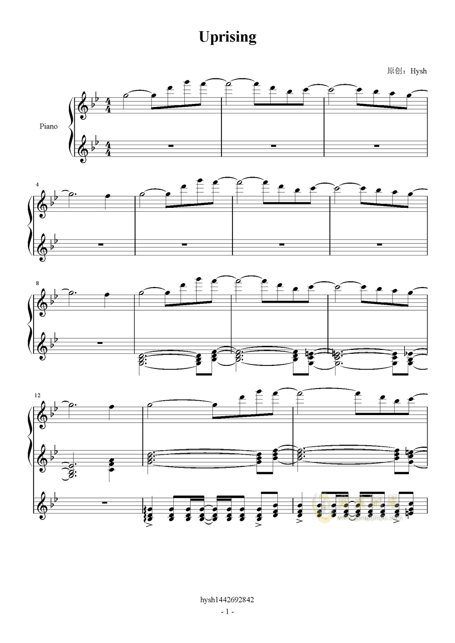 Uprising钢琴谱 第1页