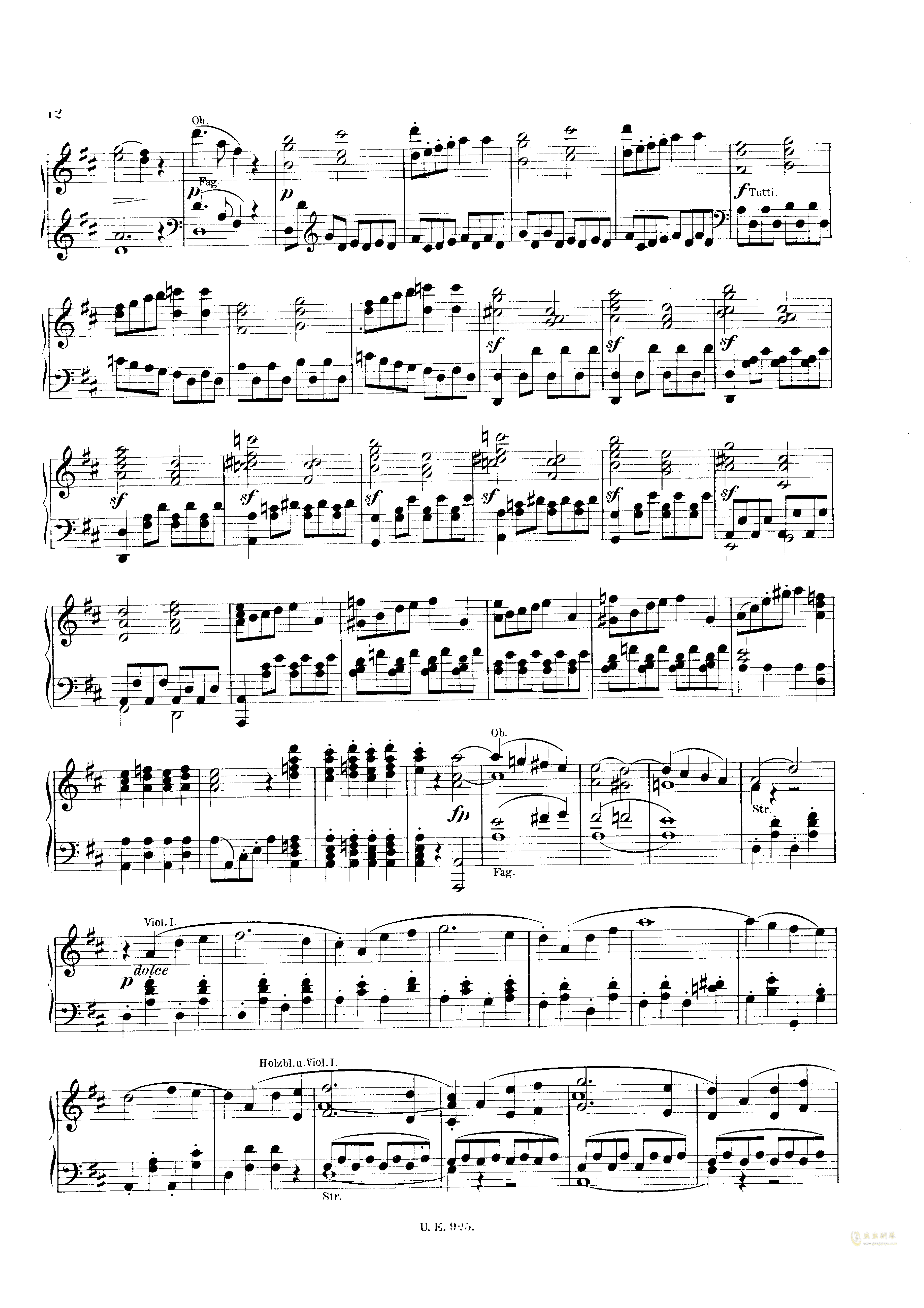 D大调第一交响曲钢琴谱 第12页