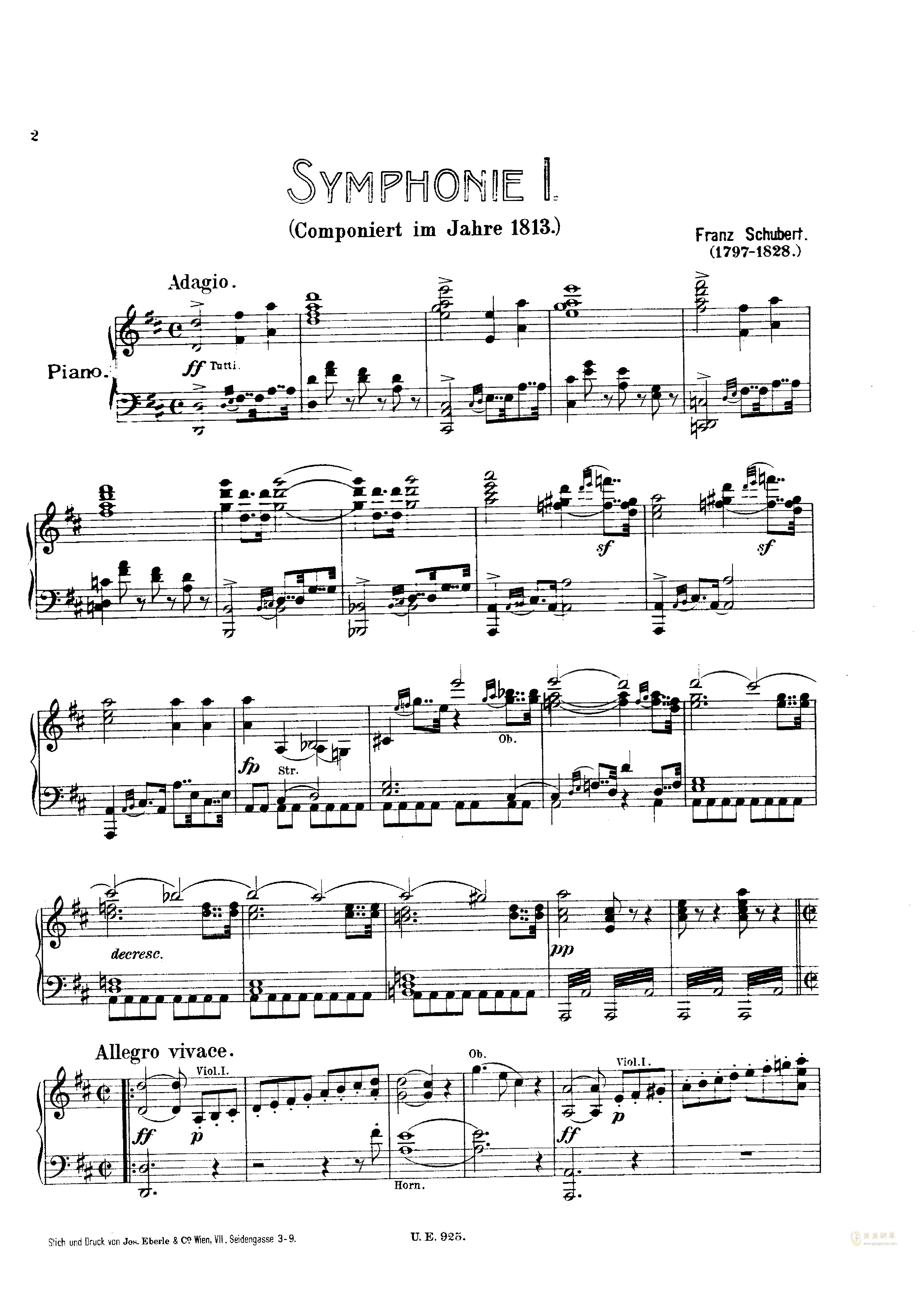 D大调第一交响曲钢琴谱 第2页