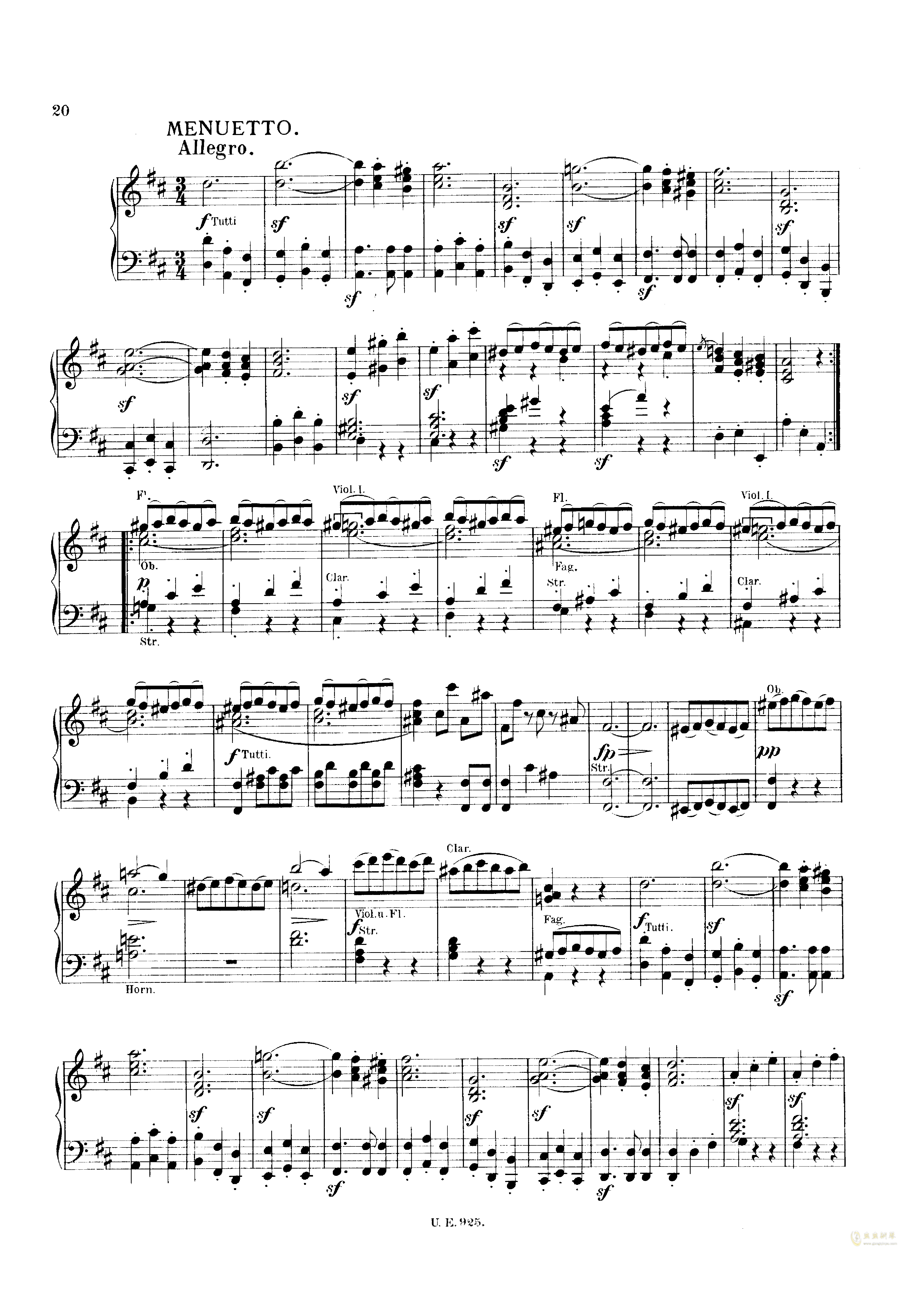 D大调第一交响曲钢琴谱 第20页