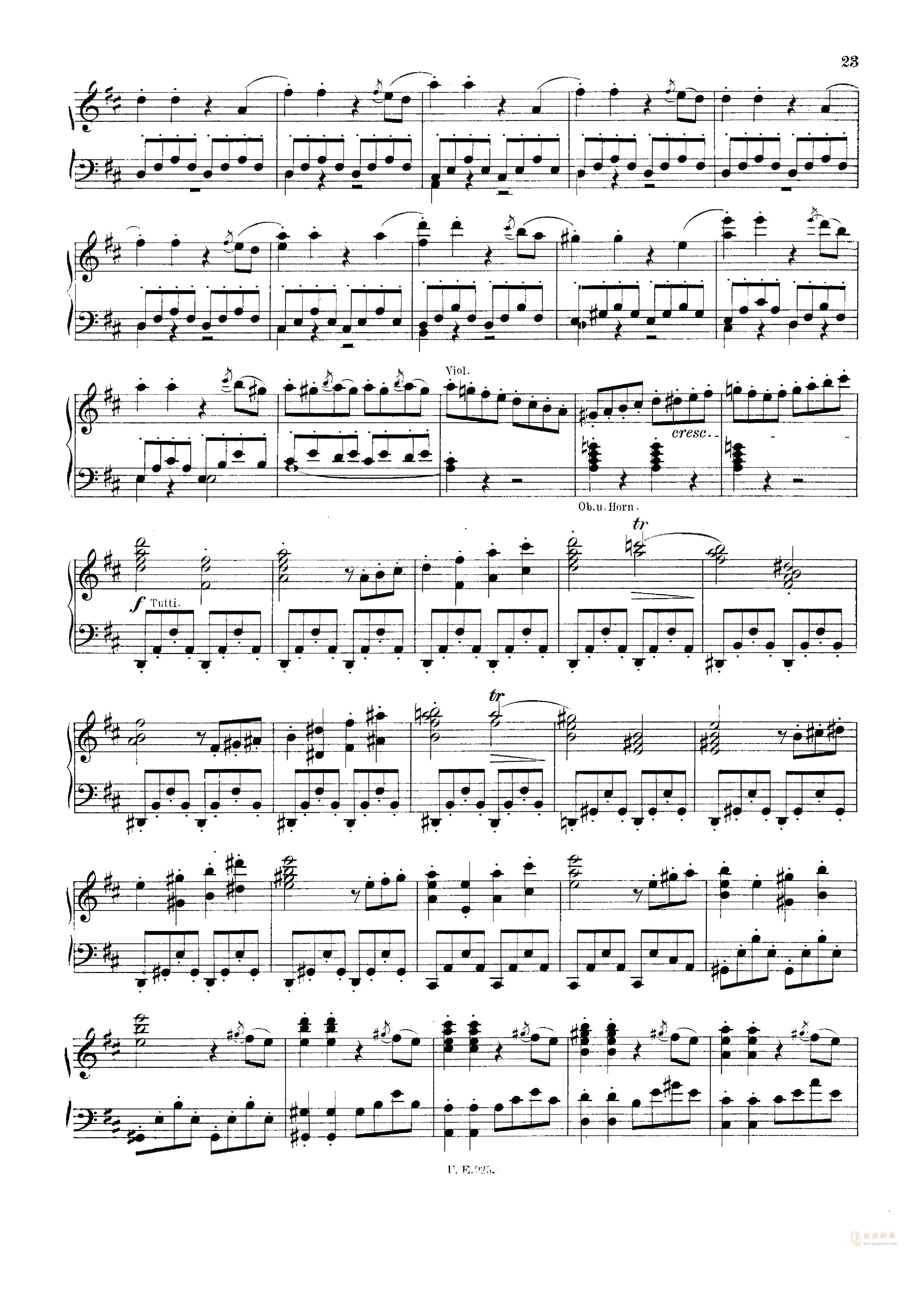 D大调第一交响曲钢琴谱 第23页