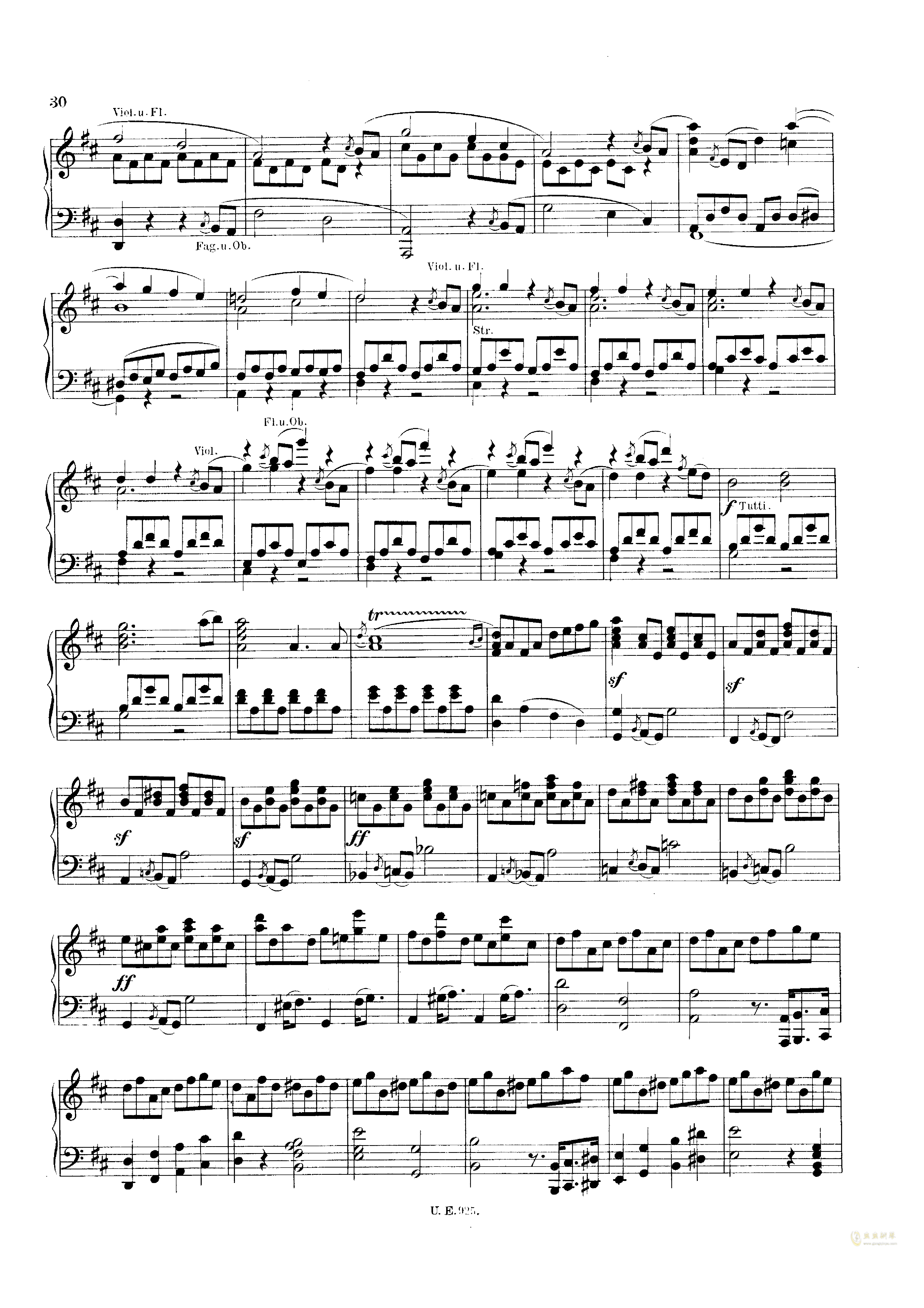 D大调第一交响曲钢琴谱 第30页