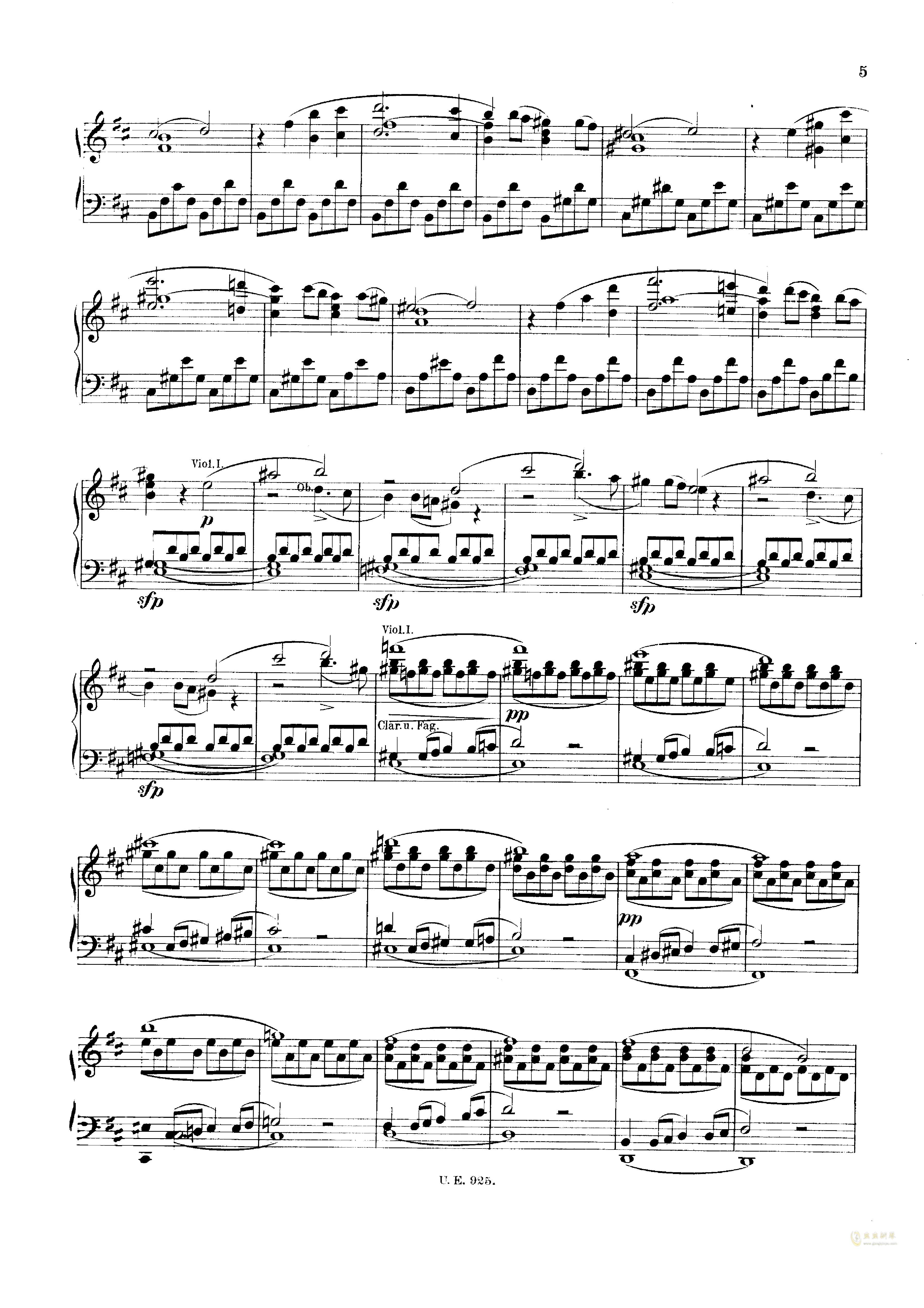 D大调第一交响曲钢琴谱 第5页