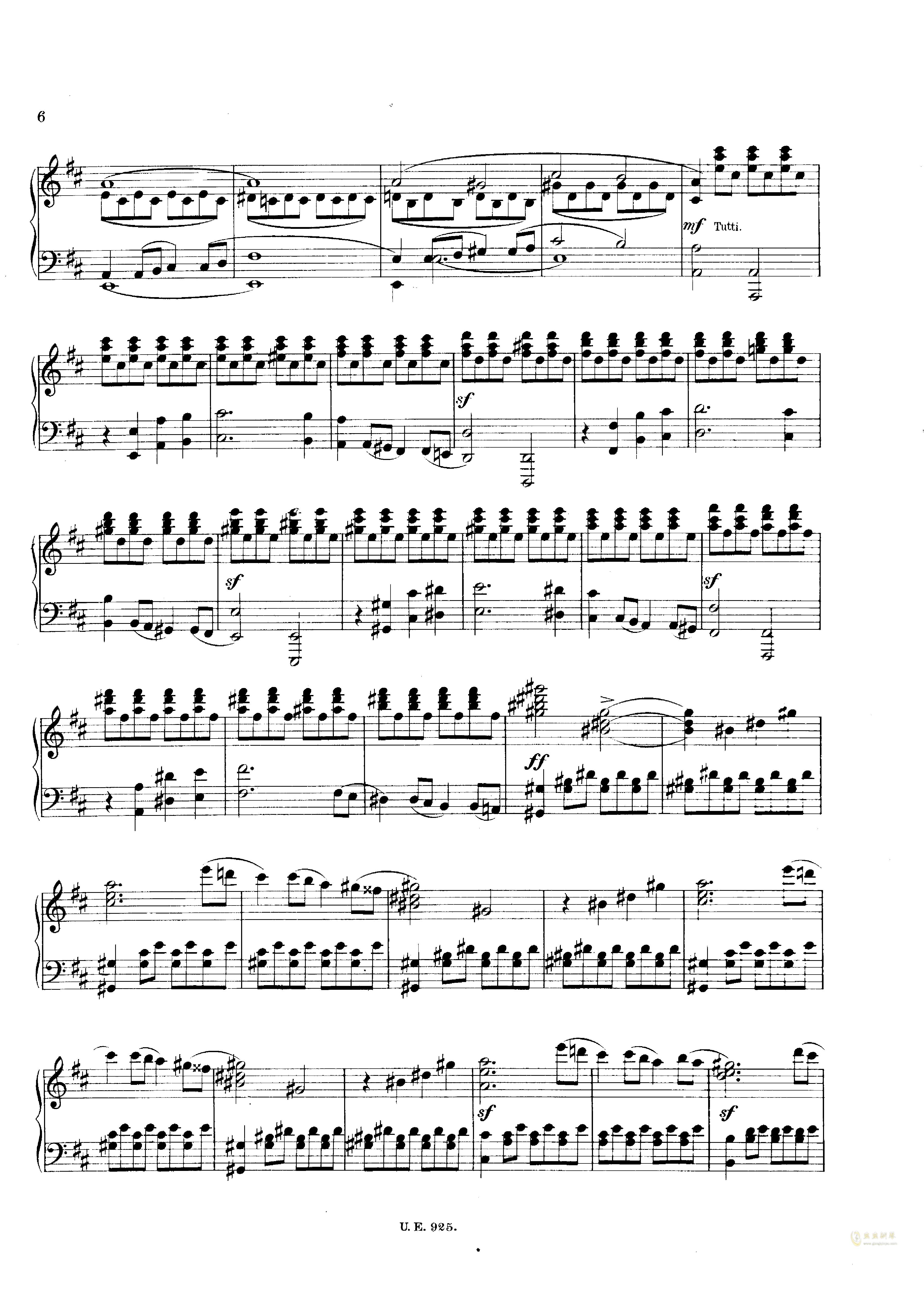 D大调第一交响曲钢琴谱 第6页