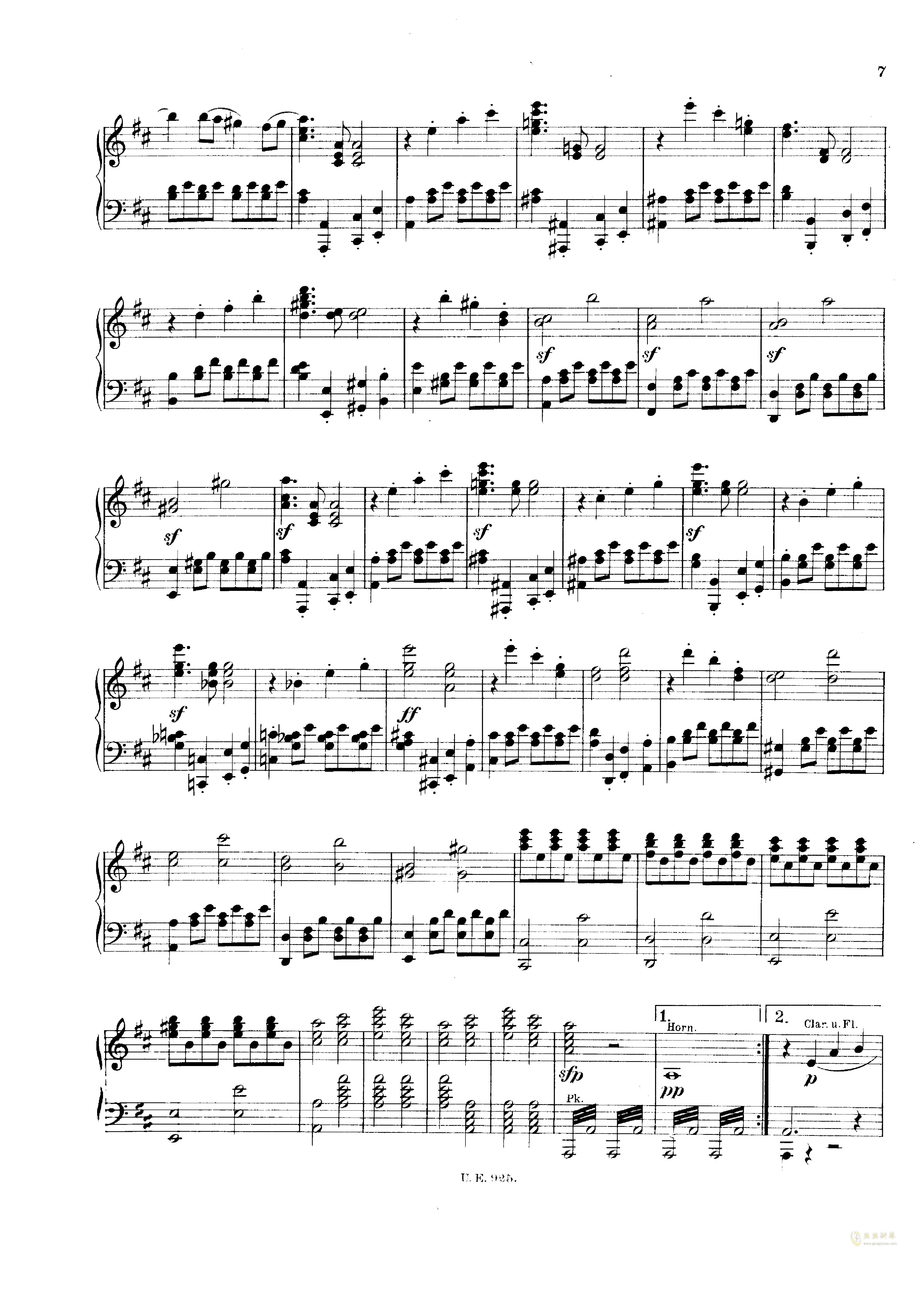 D大调第一交响曲钢琴谱 第7页