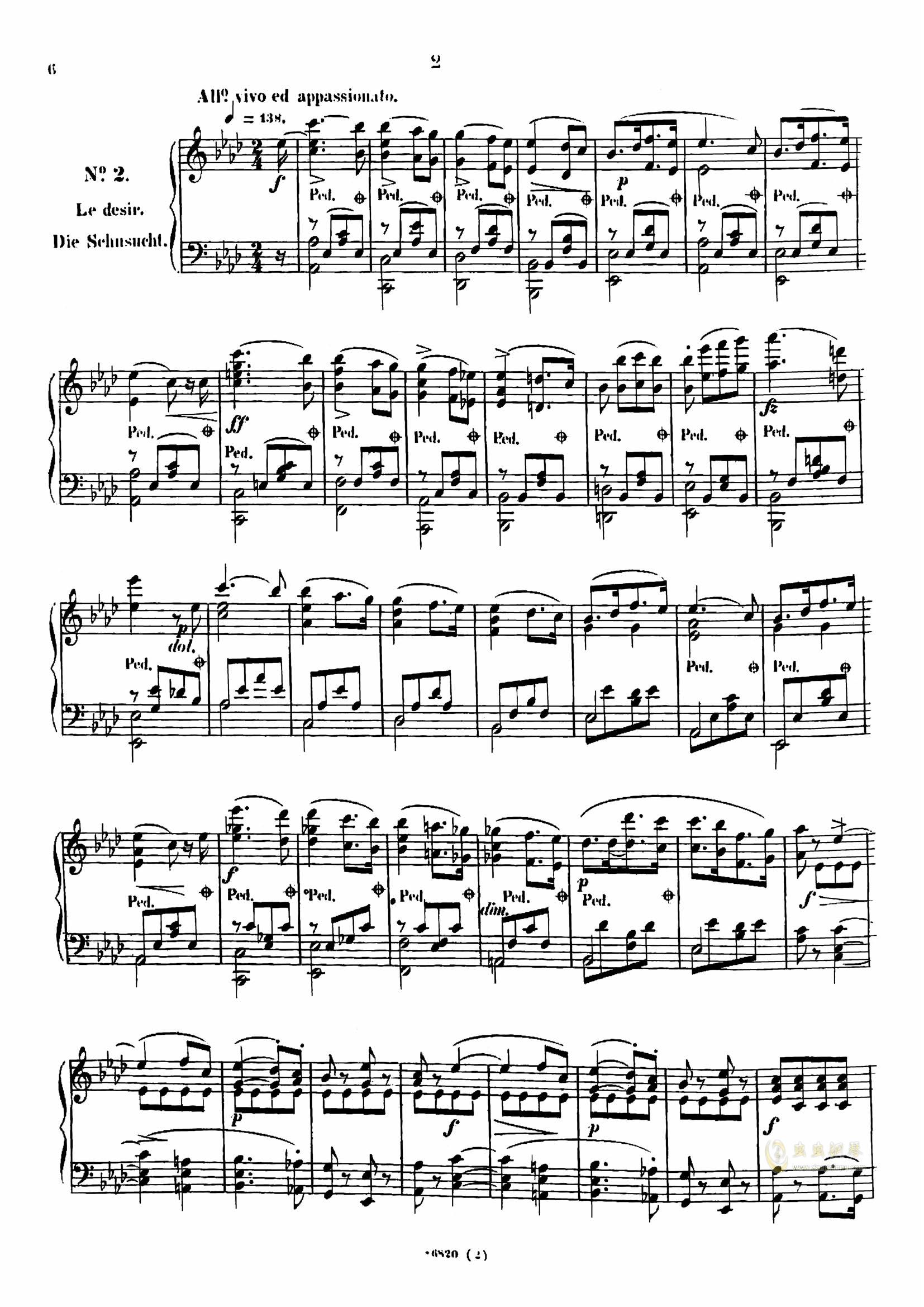 降a大调夜曲钢琴谱 第2页