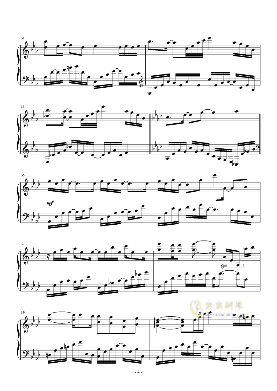 蝶舞钢琴谱 第4页